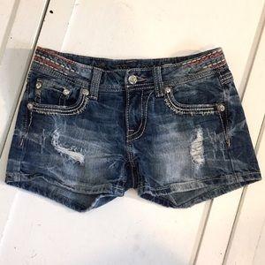 Miss Me Signature Distressed Jean Shorts - 27